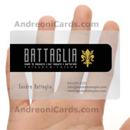 Sandro Battaglia clear plastic business card