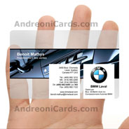 BMW clear plastic business cards