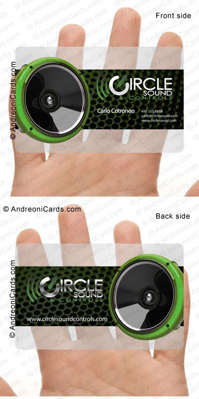 Plastic business card design sample circle sound translucent plastic business card design sample circle sound reheart Choice Image