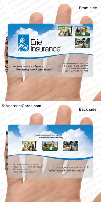 Translucent business card design sample | Erie Insurance