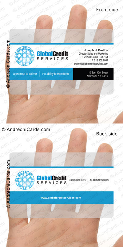Translucent business card design sample | Global Credit