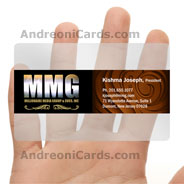 MMG translucent plastic business card