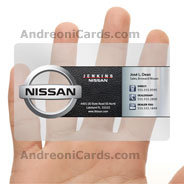 Nissan clear plastic business card