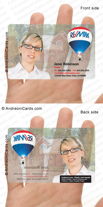 Clear frosted plastic business card design sample | ReMax