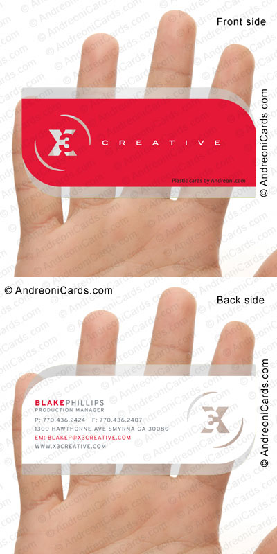 Clear plastic business card design sample with diecut | X3