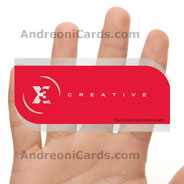 X3 clear frosted plastic business cards with diecut