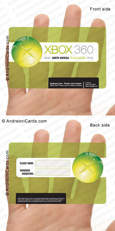 Clear plastic promotional card design sample | XBOX