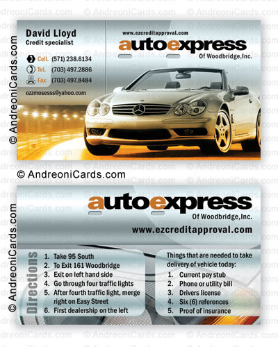 Glossy business card design sample | Auto Express