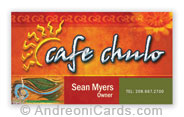 Cafe Chulo business card design sample
