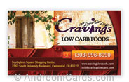 Business card design sample for Cravings