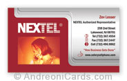 Silky business card design sample for Nextel