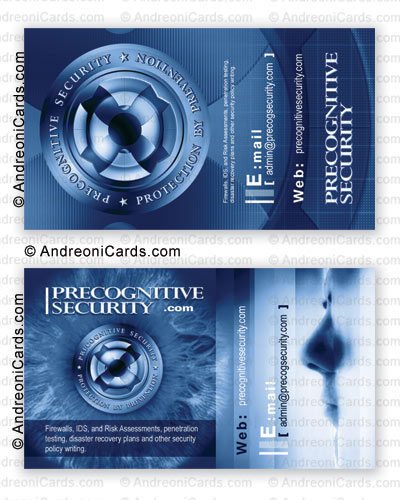 Glossy laminated business card design sample | Precognitive Security
