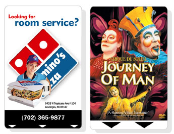 Plastic key cards - Dominos and cirque du soleil