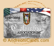 Columbia plastic association cards