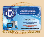 CWS plastic warranty card