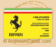 Ferrari plastic road assistance card
