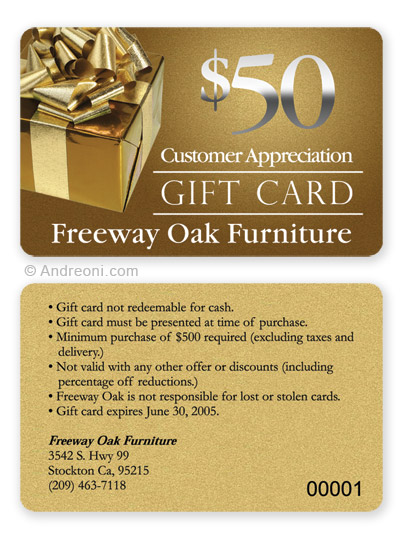 Gift Card Design Sample  Freeway Oak Furniture