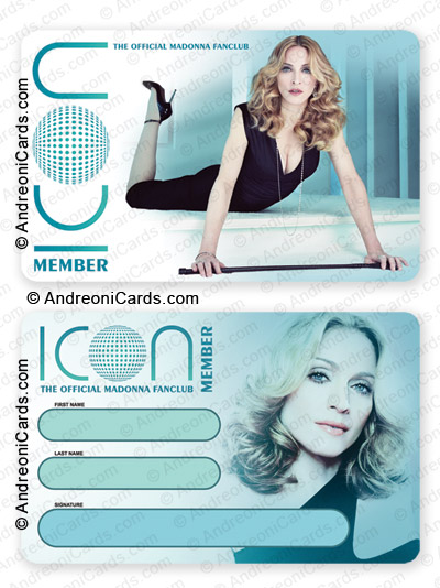 Plastic membership card design sample Madonna ICON Official Fan