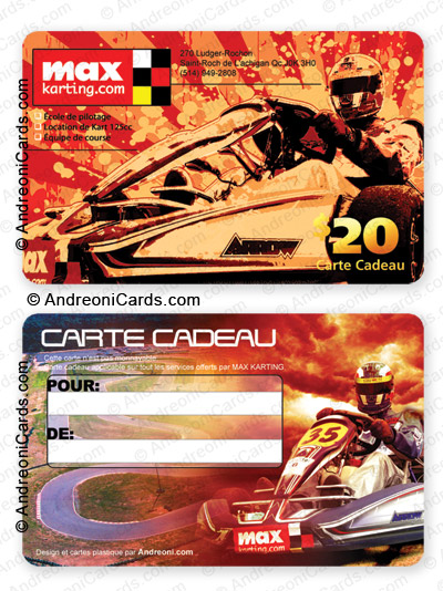 Plastic gift card - Max Karting