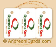 Quiznos plastic loyalty card sample